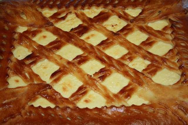 Открытый пирог творожный в духовке рецепт