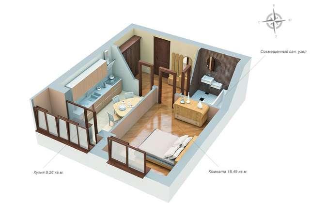 Дизайн квартир студий 36 кв.м